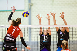 Tina Grudina and Ilka Van De Vyver of Calcit Ljubljana during the volleyball match between Calcit Ljubljana and Nova KBM Branik at 2017 Slovenian Women Cup Final, on March 18th, 2017, SD Planina, Kranj, Slovenia. Photo by Grega Valancic / Sportida