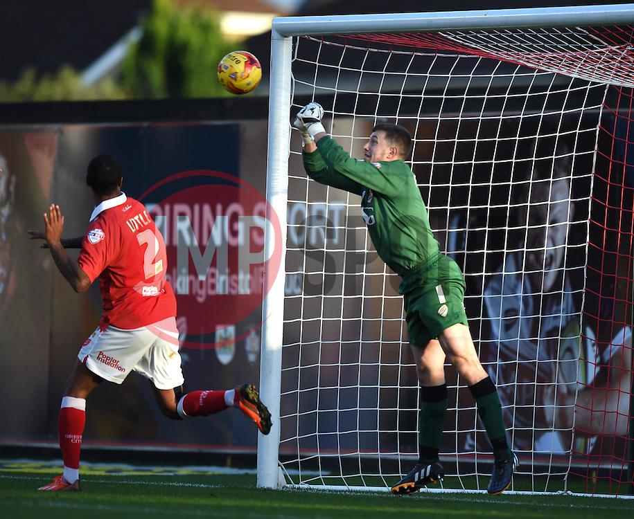 Bristol City goalkeeper, Frank Fielding saves at attempt from a Preston North End corner - Photo mandatory by-line: Paul Knight/JMP - Mobile: 07966 386802 - 22/11/2014 - SPORT - Football - Bristol - Ashton Gate Stadium - Bristol City v Preston North End - Sky Bet League One