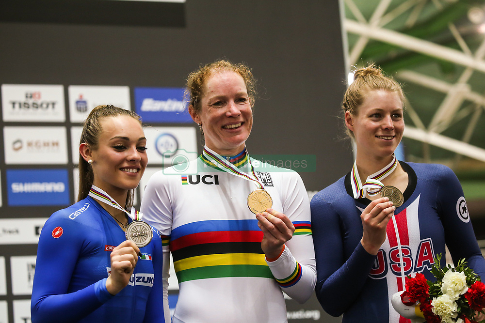 March 1, 2019 - Pruszkow, Poland - Letizia Paternoster of Italy (Silver medal) Kirsten Wild of Netherlands (gold) and Jennifer Valente of USA (bronze) pose on the podium for the Women's Omnium final on day three of the UCI Track Cycling World Championships held in the BGZ BNP Paribas Velodrome Arena on March 01, 2019 in Pruszkow, Poland. (Credit Image: © Foto Olimpik/NurPhoto via ZUMA Press)