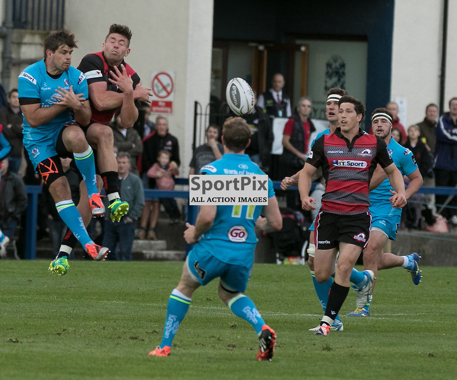 Edinburgh's Jack CUTHBERT and Ulster's Sam Arnold challenge for a high ball. Edinburgh Rugby v Ulster Rugby, 28th August 2015