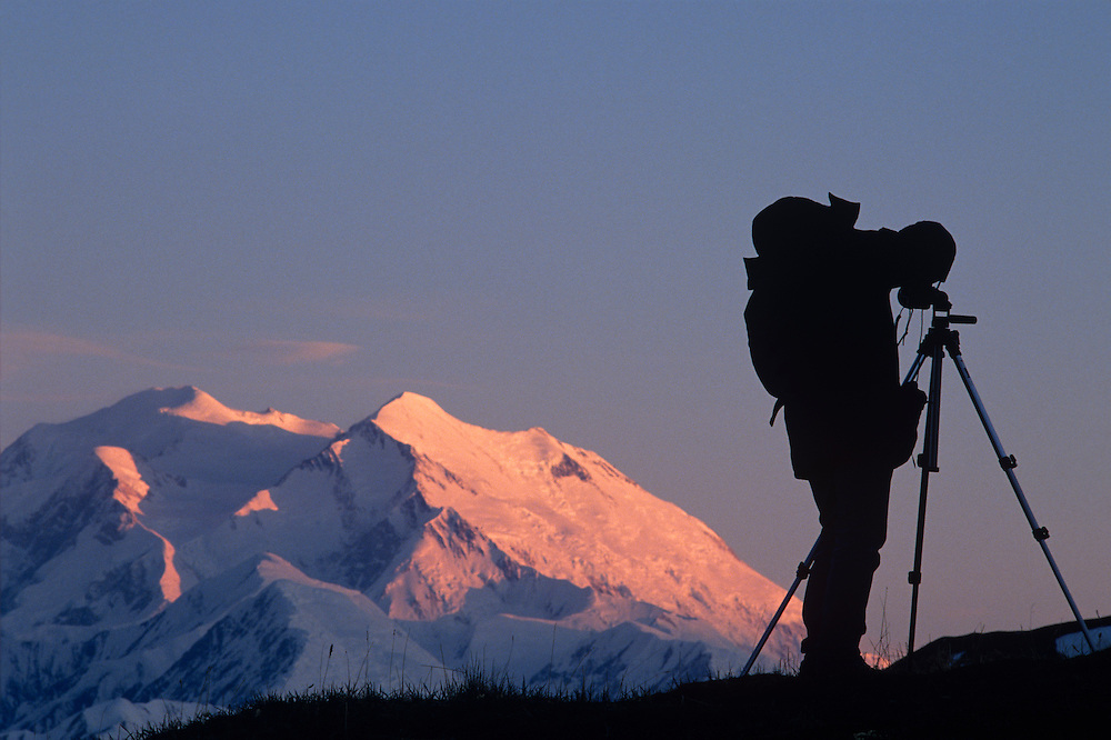 USA, Alaska, Denali National Park, (MR) Photographer takes snapshots of Mount McKinley (20,320') at sunset