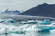 Jökulsárlón, the glacial lagoon formed by Vatnajokull in the southeast of Iceland.