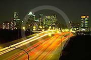Philadelphia Skyline, Night Auto Light Streaks, before Comcast Skyscraper