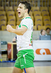 Aljosa Bogozalec of Panvita Pomgrad reacts during volleyball game between OK ACH Volley and OK Panvita Pomgrad in 1st final match of Slovenian National Championship 2013/14, on April 6, 2014 in Arena Tivoli, Ljubljana, Slovenia. Photo by Vid Ponikvar / Sportida