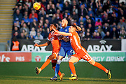 Peterborough Utd forward Marcus Maddison (21) is sandwiched between two Shrewsbury defenders during the EFL Sky Bet League 1 match between Peterborough United and Shrewsbury Town at London Road, Peterborough, England on 23 February 2019.