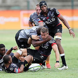 Johan Deysel of the Cell C Sharks during The Cell C Sharks Pre Season warm up game 1,The Cell C Sharks B and the Toyota Cheetahs B,at King Zwelithini Stadium, Umlazi, Durban, South Africa. Friday, 3rd February 2017 (Photo by Steve Haag)
