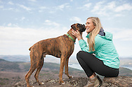 Boxer and owner on Sleeping Beauty Mountain