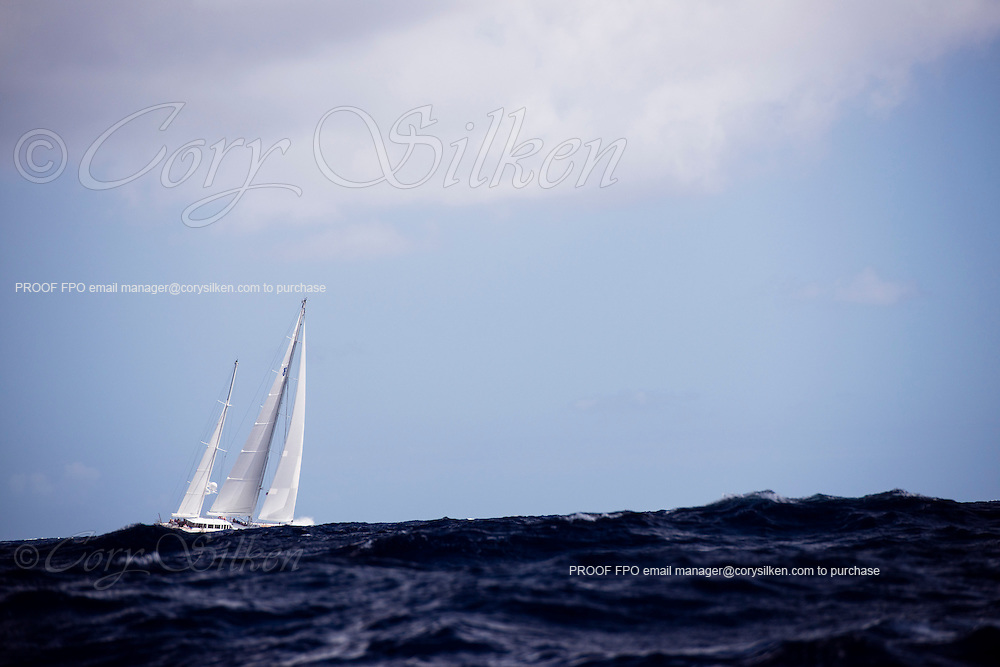 Timoneer sailing in the Antigua Superyacht Challenge, day two.