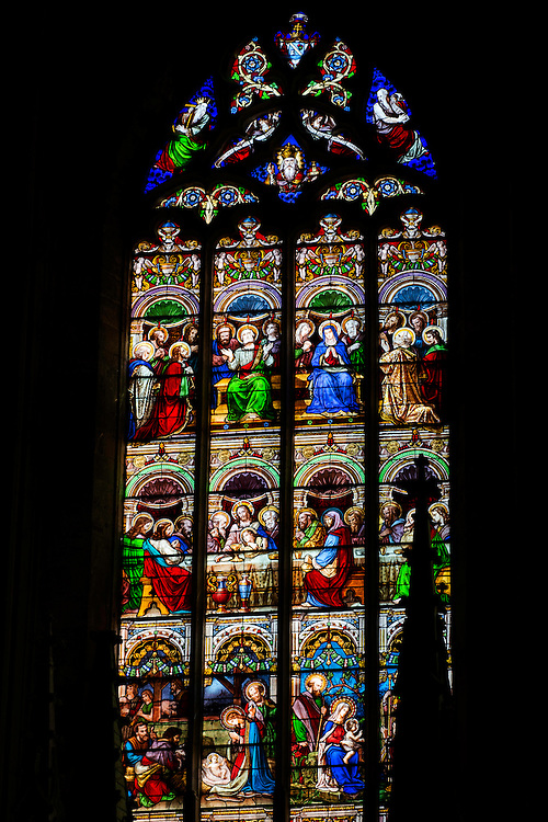 FRANCE, Saint Emilion<br /> The magnificent stained glass windows of the Eglise Collegiale (XII-XV century)