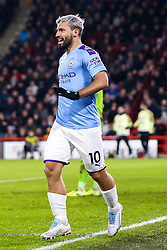 Sergio Aguero of Manchester City celebrates scoring a goal to make it 1-0 - Mandatory by-line: Robbie Stephenson/JMP - 21/01/2020 - FOOTBALL - Bramall Lane - Sheffield, England - Sheffield United v Manchester City - Premier League