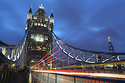 Light trails on Tower Bridge, London