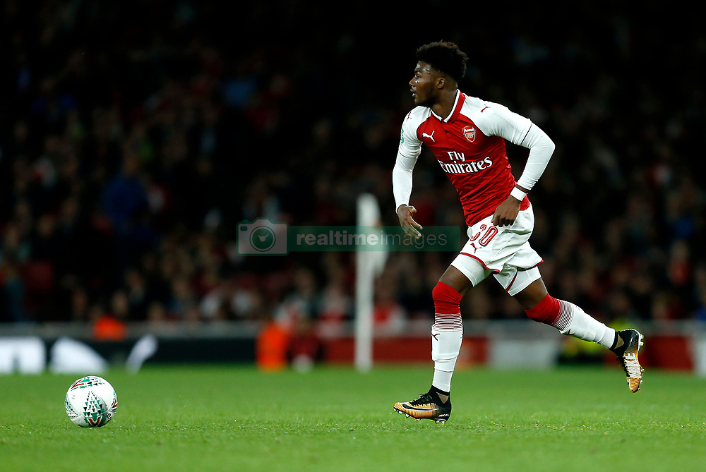 """Arsenal's Ainsley Maitland-Niles during the Carabao Cup, Fourth Round match at the Emirates Stadium, London. PRESS ASSOCIATION Photo. Picture date: Tuesday October 24, 2017. See PA story SOCCER Arsenal. Photo credit should read: Paul Harding/PA Wire. RESTRICTIONS: EDITORIAL USE ONLY No use with unauthorised audio, video, data, fixture lists, club/league logos or """"live"""" services. Online in-match use limited to 75 images, no video emulation. No use in betting, games or single club/league/player publications."""
