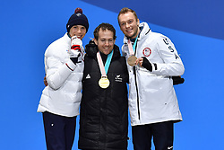 BAUCHET_Arthur, HALL Adam, STANTON Jamie,  ParaSkiAlpin, Para Alpine Skiing, Slalom, Podium during the PyeongChang2018 Winter Paralympic Games, South Korea.