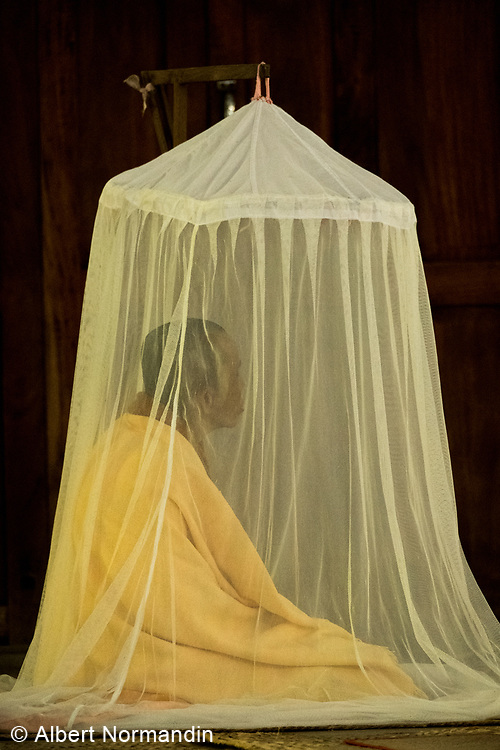 Nun in Silent Meditation under mosquito net, Mahar Sithar Monastery and Nunnery, Nyaung U, Bagan, Myanmar