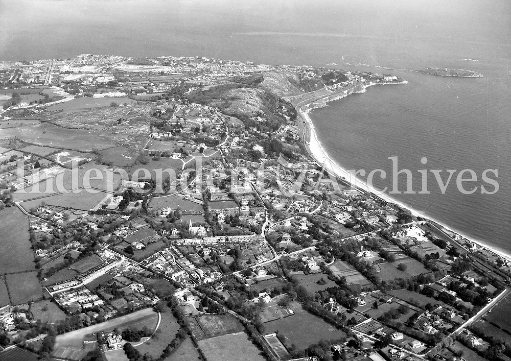 A242 Killiney.   23/07/54. (Part of the Independent Newspapers Ireland/NLI collection.)<br /> <br /> <br /> These aerial views of Ireland from the Morgan Collection were taken during the mid-1950's, comprising medium and low altitude black-and-white birds-eye views of places and events, many of which were commissioned by clients. From 1951 to 1958 a different aerial picture was published each Friday in the Irish Independent in a series called, 'Views from the Air'.