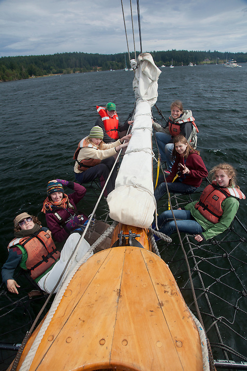 North America, United States, Washington, San Juan Islands,  Adventuress schooner, a National Historic Landmark vessel operated by nonprofit Sound Experience.  Adventuress is a 133-foot gaff-rigged sailing schooner launched in 1913.