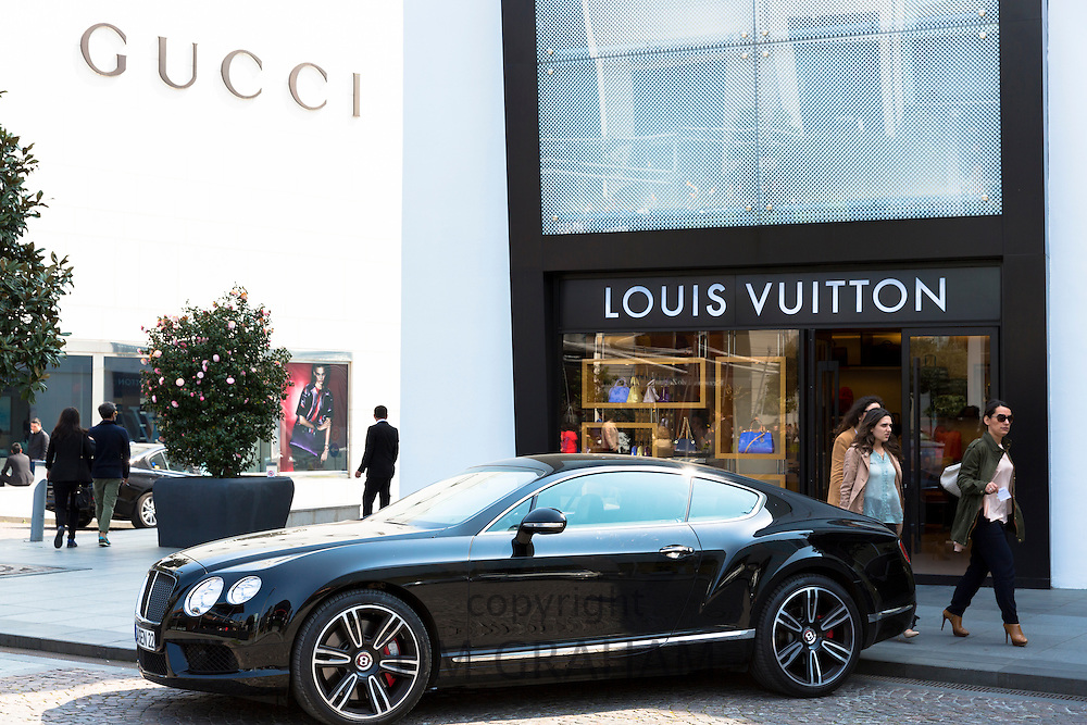Bentley car Louis Vuitton designer Gucci fashion shop at Istinye Park shopping mall near Levent business center Istanbul, Turkey