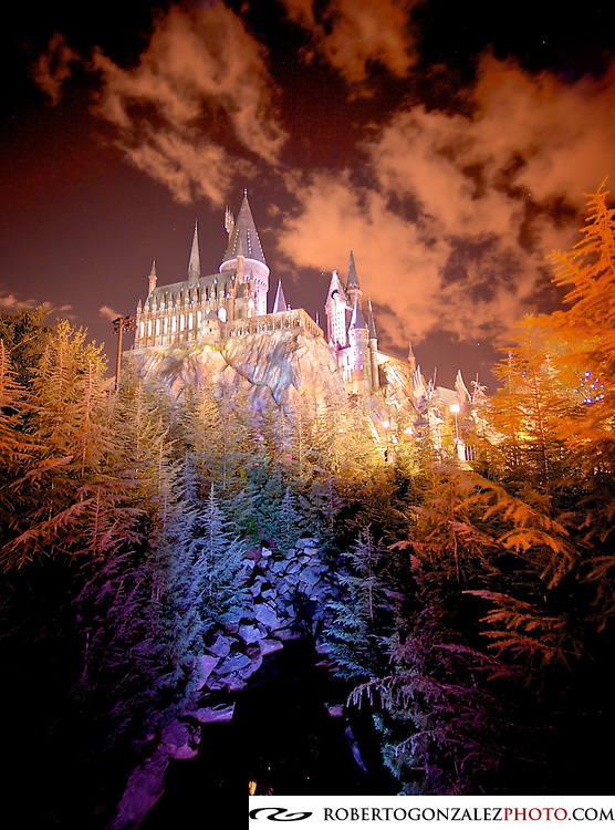 Hogwarts Castle seen at night at the Wizarding World of Harry Potter at Universal Studios in Orlando. Photo by Roberto Gonzalez
