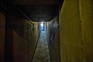Roma 25 Ottobre 2014<br /> Aperti al pubblico i bunker segreti, costruiti tra il 1942 e il 1943,dove Benito  Mussolini e la sua famiglia cercava rifugio dai bombardamenti degli alleati nella residenza privata di Villa Torlonia. <br /> Nella foto:  Il bunker scavato ex novo ad una profondità di 6 metri e mezzo, sotto  il piazzale antistante il Casino Nobile a forma di croce, protetto  da una copertura in cemento armato spessa  4 metri, la costruzione inizio  a fine 1942 ma rimase incompiuto poichè Mussolini fu arrestato il 25 Luglio 1943.<br /> Rome October 25, 2014 <br /> Open to the public the secret bunkers built between 1942 and 1943, where Benito Mussolini and his family sought refuge from Allied bombing in the private residence of Villa Torlonia. <br /> Pictured: The bunker dug anew to a depth of 6 feet below the square in front of the Casino Nobile in the shape of a cross, protected by a reinforced concrete roof 4 feet thick, construction beginning in late 1942 but remained unfinished because Mussolini was arrested July 25, 1943.
