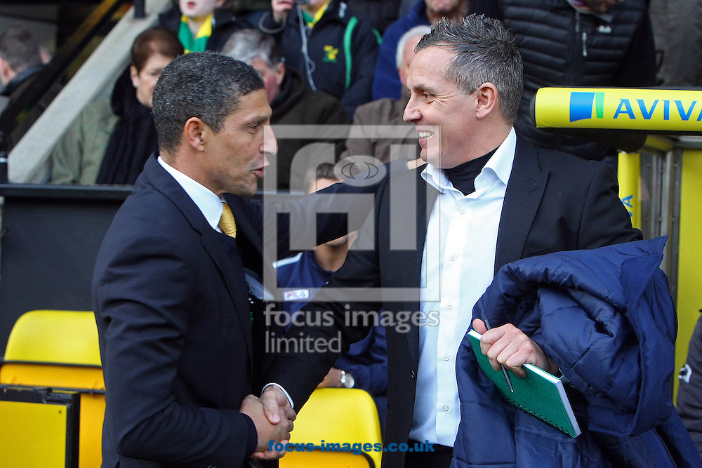 Picture by Paul Chesterton/Focus Images Ltd +44 7904 640267.26/01/2013.Norwich Manager Chris Hughton and Luton Town Manager Paul Buckle before The FA Cup 4th Round match at Carrow Road, Norwich.