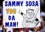 "CHICAGO, IL-SEPTEMBER 20:   A fan of Sammy Sosa of the Chicago Cubs shows their support during Sammy Sosa day on September 20, 1998 at Wrigley Field in Chicago, Illinois.   Sammy Sosa and Mark McGwire were part of what has been called the ""Great Home Run Race of 1998"" between the two as they were both attempting to break the single season home run record of 61 held by Roger Maris since 1961.  (Photo by Ron Vesely)"
