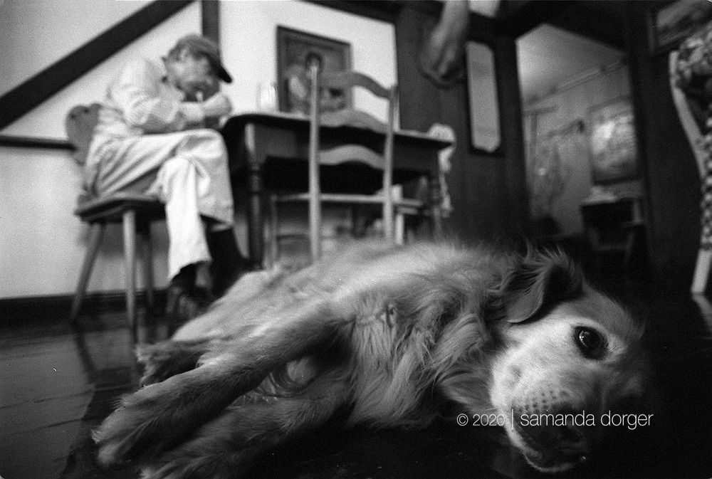 Jesse, the town dog, lays in the Hütte Restaurant in Helvetia, West Virginia.