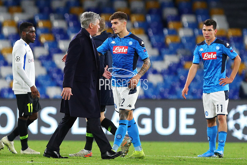 Head coach of Napoli Carlo Ancelotti greets Giovanni Di Lorenzo at the end of the UEFA Champions League, Group E football match between SSC Napoli and KRC Genk on December 10, 2019 at Stadio San Paolo in Naples, Italy - Photo Federico Proietti / ProSportsImages / DPPI