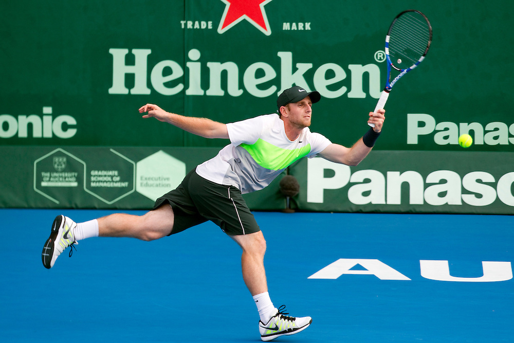 Canada's Jesse Levine in his first round singles match against New Zealand's Dan King Turner at the Heineken Open Men's Tennis Tournament, Auckland, New Zealand, Tuesday, January 08, 2013.  Credit:SNPA / David Rowland