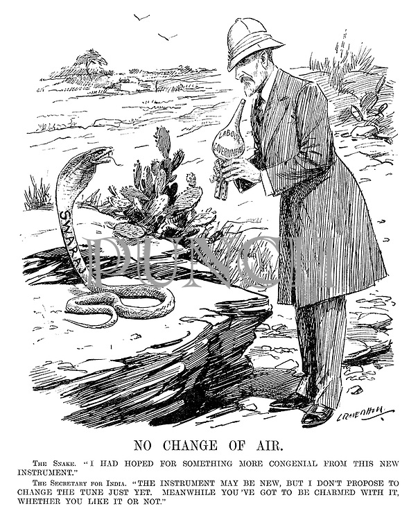 "No Change of Air. The Snake. ""I had hoped for something more congenial from this new instrument."" The Secretary of India. ""The instrument may be new, but I don't propose to change the tune just yet. Meanwhile you've got to be charmed with it, whether you like it or not."" (cartoon showing a Swaraj cobra snake and Sydney Olivier with a Labour Government flute during the InterWar era)"