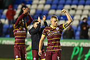 Queens Park Rangers Defender, Jake Bidwell (3) celebrates with the fans at full time during the EFL Sky Bet Championship match between Reading and Queens Park Rangers at the Madejski Stadium, Reading, England on 12 January 2017. Photo by Adam Rivers.