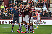 Hearts FC Forward Osman Sow celebrates his second goal during the Ladbrokes Scottish Premiership match between Heart of Midlothian and Ross County at Tynecastle Stadium, Gorgie, Scotland on 24 October 2015. Photo by Craig McAllister.