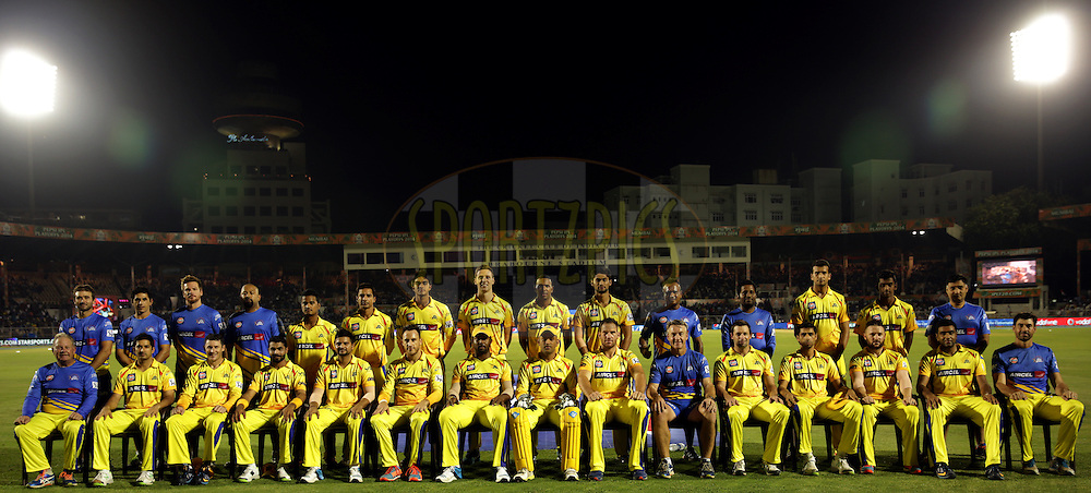 Chennai Superkings Team poses for the picture before the start of the eliminator match of the Pepsi Indian Premier League Season 2014 between the Chennai Superkings and the Mumbai Indians held at the Brabourne Stadium, Mumbai, India on the 28th May  2014<br /> <br /> Photo by Sandeep Shetty / IPL / SPORTZPICS<br /> <br /> <br /> <br /> Image use subject to terms and conditions which can be found here:  http://sportzpics.photoshelter.com/gallery/Pepsi-IPL-Image-terms-and-conditions/G00004VW1IVJ.gB0/C0000TScjhBM6ikg