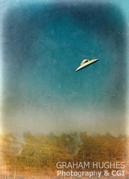 UFO Flying over forest.