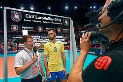 13-09-2019 NED: EC Volleyball 2019 Czech Republic - Ukraine, Rotterdam<br /> First round group D / Dmytro Viietskyi #3 of Ukraine
