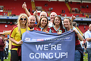 Burnley fans celebrating during the Sky Bet Championship match between Charlton Athletic and Burnley at The Valley, London, England on 7 May 2016. Photo by Matthew Redman.