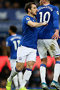 Everton defender Leighton Baines (3) comes on to replace the injured Everton defender Lucas Digne (12) during the Premier League match between Everton and Chelsea at Goodison Park, Liverpool, England on 7 December 2019.