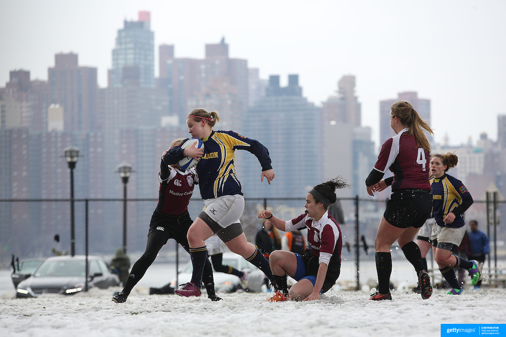 Cara Cook, Clarion College, powers over for a try during the Clarion vs Molloy Women's College Division game at the Four Leaf 15s Rugby Tournament which attracted over 60 clubs teams from New York and Interstate. Randall's Island Park, New York,  USA. 21st March 2015. Photo Tim Clayton