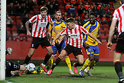 Billy Waters just misses during the Vanarama National League match between Cheltenham Town and Altrincham at Whaddon Road, Cheltenham, England on 19 December 2015. Photo by Carl Hewlett.