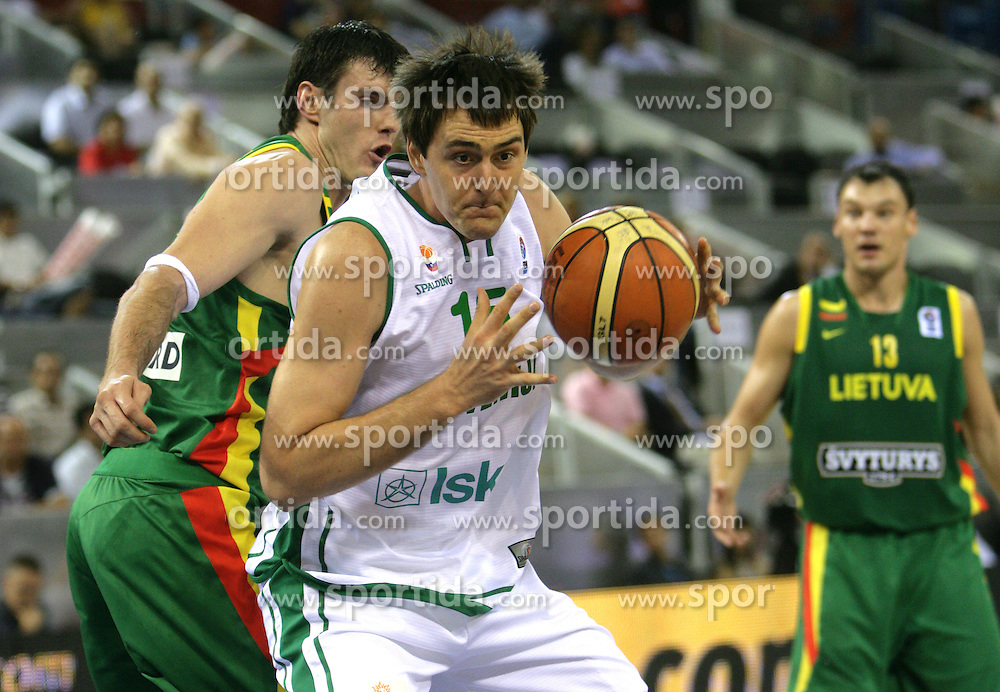 Basketball player Erazem Lorbek of Slovenia, Eurobasket 2007, Madrid. Slovenija : Litva 61:80. (Photo by Vid Ponikvar/Sportida)