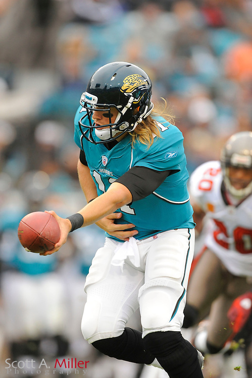 Jacksonville Jaguars quarterback Blaine Gabbert (11) during the Jaguars game against the Tampa Bay Buccaneers at EverBank Field on Dec. 11, 2011 in Jacksonville, Fla. ..©2011 Scott A. Miller