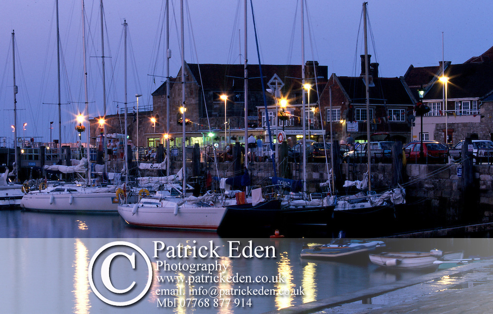 Yachts quay lights Harbour Dusk  Yarmouth Isle of Wight photography photograph canvas canvases