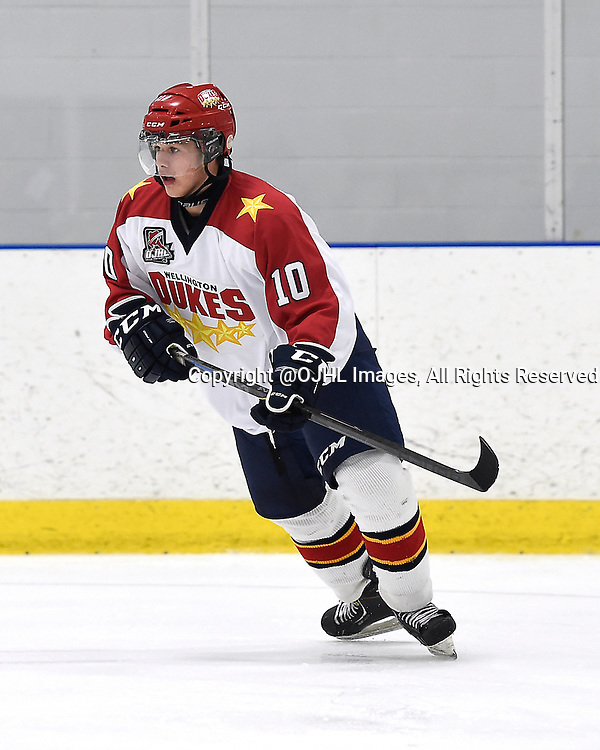 TORONTO, ON - Sep 20, 2014 : Ontario Junior Hockey League game action between Wellington and Toronto, Chase St Aubin #10 of the Wellington Dukes Hockey Club skates after the puck during the first period.<br /> (Photo by Andy Corneau / OJHL Images)