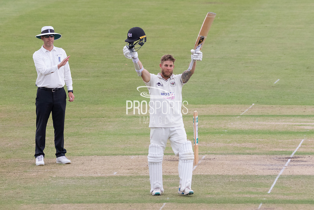 100 - Chris Dent celebrates reaching 100 during the Specsavers County Champ Div 2 match between Gloucestershire County Cricket Club and Leicestershire County Cricket Club at the Cheltenham College Ground, Cheltenham, United Kingdom on 16 July 2019.