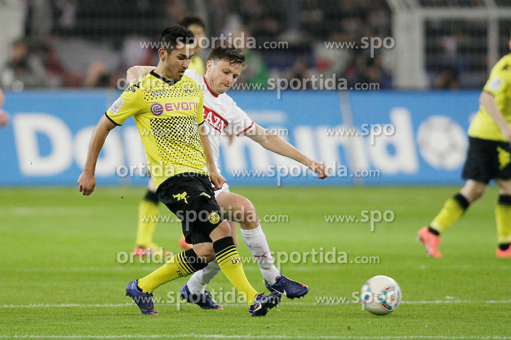 30.03.2012, Signal-Iduna-Park, Dortmund, GER, 1. FBL, Borussia Dortmund vs VfB Stuttgart, 28. Spieltag, im Bild v.l. Ilkay Guendogan (Borussia Dortmund), William Kvist (VfB Stuttgart), Aktion // during the German Bundesliga Match, 28th Round between Borussia Dortmund and VfB Stuttgart at the Signal Iduna Park Stadium, Dortmund, Germany on 2012/03/30. EXPA Pictures © 2012, PhotoCredit: EXPA/ Eibner/ Oliver Vogler..***** ATTENTION - OUT OF GER *****