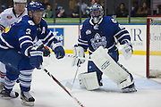 Marlies defenseman T.J. Brennan and goaltender Jonathan Bernier play during a game against the Rochester Americans in Rochester, New York, USA on Friday, December 4, 2015.