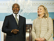 08.JUNE.2012. WASHINGTON D.C.<br /> <br /> SECRETARY OF STATE HILLARY RODHAM CLINTON MEETS WITH UN-ARAB LEAGUE JOINT SPECIAL ENVOY FOR SYRIA KOFI ANNAN AT THE U.S. DEPARTMENT OF STATE IN WASHINGTON, D.C., ON JUNE 8, 2012.  <br /> <br /> BYLINE: EDBIMAGEARCHIVE.CO.UK<br /> <br /> *THIS IMAGE IS STRICTLY FOR UK NEWSPAPERS AND MAGAZINES ONLY*<br /> *FOR WORLD WIDE SALES AND WEB USE PLEASE CONTACT EDBIMAGEARCHIVE - 0208 954 5968*