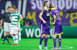 Agim Ibraimi of Maribor and Luka Zahovic of Maribor after Zahovic scored during football match between NK Maribor and Sporting Lisbon (POR) in Group G of Group Stage of UEFA Champions League 2014/15, on September 17, 2014 in Stadium Ljudski vrt, Maribor, Slovenia. Photo by Vid Ponikvar  / Sportida.com