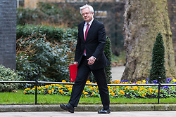 © Licensed to London News Pictures. 06/03/2018. London, UK. Secretary of State for Exiting the European Union David Davis on Downing Street for the weekly Cabinet meeting. Photo credit: Rob Pinney/LNP