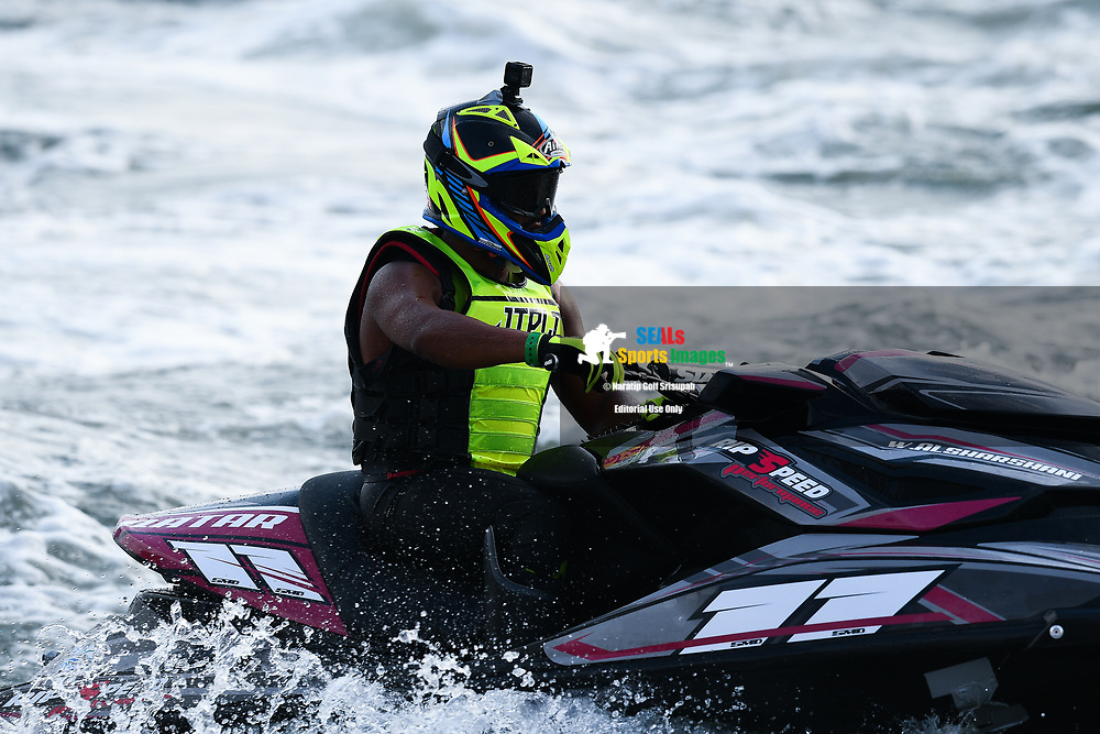 PATTAYA, THAILAND - DECEMBER 09: Waleed Alsharshani (11) of Qatar reaction the Pro Runabout GP Moto4 at the Thai Airways International Jet Ski World Cup 2018, Jomtien Beach, Pattaya, Thailand on December 09, 2018. <br /> .<br /> .<br /> .<br /> (Photo by: Naratip Golf Srisupab/SEALs Sports Images)<br /> .<br /> Any image use must include a mandatory credit line adjacent to the content which should read: Naratip Golf Srisupab/SEALs Sports Images