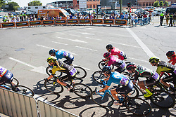 The front of the peloton leans into a corner on Stage 2 of the Madrid Challenge - a 100.3 km road race, starting and finishing in Madrid on September 16, 2018, in Spain. (Photo by Balint Hamvas/Velofocus.com)